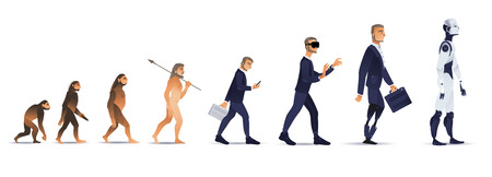 Illustration pour Vector evolution concept with ape to cyborg and robots growth process with monkey, caveman to businessman in suit wearing VR headset, artificial legs person and robotic creature. Mankind development - image libre de droit