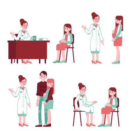 Illustration for Vector pregnancy, motherhood concept characters set. Pregnant woman with man partner at at gynecologist visit at clinic. Male, female characters at a doctor. - Royalty Free Image
