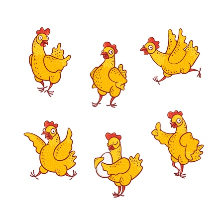 Illustration for Vector illustration set of funny cartoon hen in different poses isolated on white background - cute hand drawn yellow smiling chicken standing along and with egg, running and having fun. - Royalty Free Image