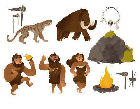 Illustration pour Stone age vector illustration set with various ancient people and tools and weapons, animals, cave and bonfire in flat cartoon gradient style isolated on white background - elements of caveman life. - image libre de droit