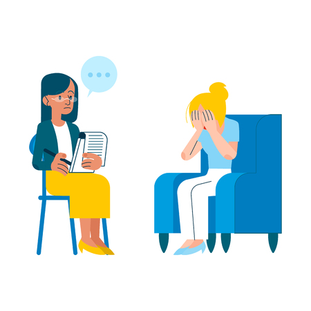 Illustration pour Vector psychotherapy session concept with adult woman mental therapist, psychiatrist asking questions, listening to tired female character with health problem, crying sitting at armchair - image libre de droit