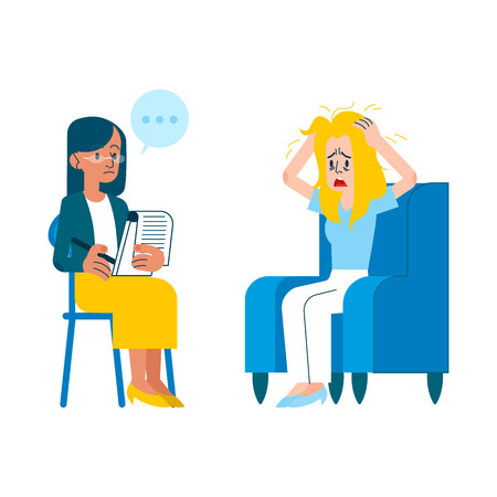 Illustration pour Vector psychotherapy session concept with adult woman mental therapist, psychiatrist asking questions, listening to tired female character with health problem, ruffling hair sitting at armchair - image libre de droit