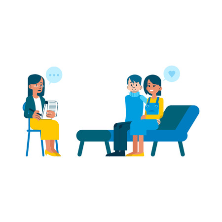Illustration pour Vector psychotherapy session concept with adult woman mental therapist, psychiatrist asking questions, listening to happy couple man, woman sitting at couch passed through troubles, family therapy - image libre de droit