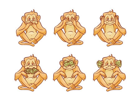 Illustration pour Vector illustration set of three monkeys dont speak, hear and see covering his eyes, ears and mouth with hands and stacks of green money banknotes in sketch style isolated on white background. - image libre de droit