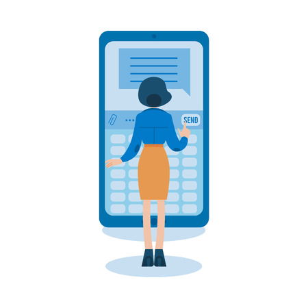 Vector social communication concept with young girl in corporate suit, woman standing taping, chatting, sending messages at big smartphone. Flat illustration