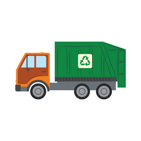 Illustration for Trash truck with recycle symbol - green lorry vehicle for assembling and transportation of garbage in flat style. Isolated vector illustration of rubbish car for ecology saving concept. - Royalty Free Image