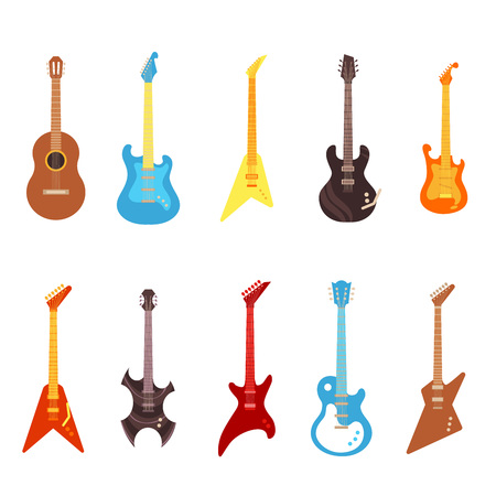 Illustration pour Guitar vector illustration set - different electric and acoustic string musical instruments of various colors in flat style. Concert equipment isolated on white background. - image libre de droit