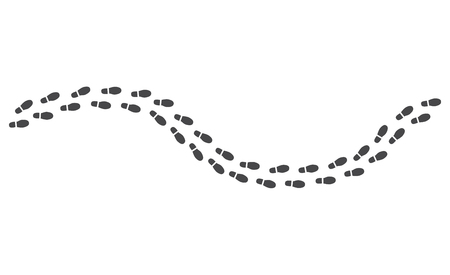 Ilustración de Black human footprints pathway isolated on white background - route of monochrome silhouette of shoe sole track in vector illustration. Trailway of walking person - boots trace of man. - Imagen libre de derechos