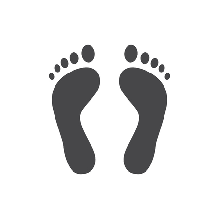 Illustration for Human barefoot track monochrome silhouette vector illustration - black shape of person footprint isolated on white background. Solid pictogram of pair of cute human trace. - Royalty Free Image