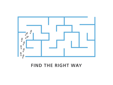 Illustration pour Find the right way motivation banner with blue labyrinth and human shoe tracks at entrance isolated on white background - vector illustration of business strategy or problem solution concept. - image libre de droit