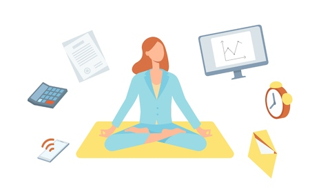 Illustration pour Vector beautiful blonde woman sitting in lotus posture practicing yoga with symbols of stress, timemanagement around. Female character at relaxation session. Concept of meditation, healthy lifestyle. - image libre de droit