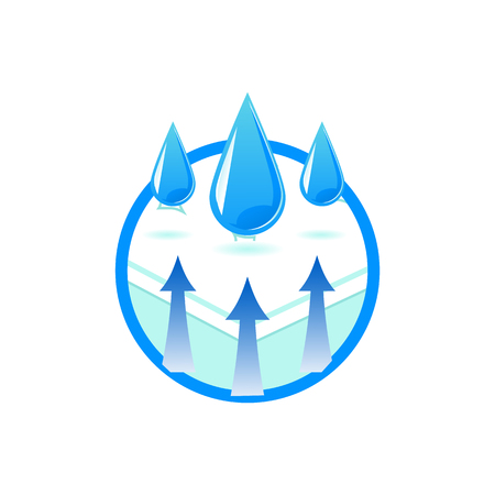 Illustration pour Breathable and waterproof fabric technology symbol in flat style - isolated vector illustration of comfortable orthopedic mattress with water repellent materials for health safety. - image libre de droit