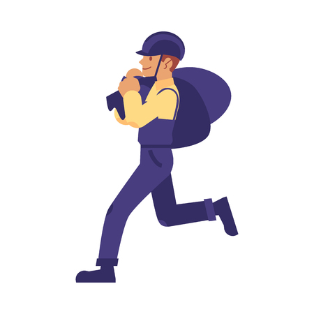 Illustration for vector construction work handyman character, builder in overall, protective hat carrying construction garbage bags. Professional repairman, constructor in uniform. Isolated illustration - Royalty Free Image