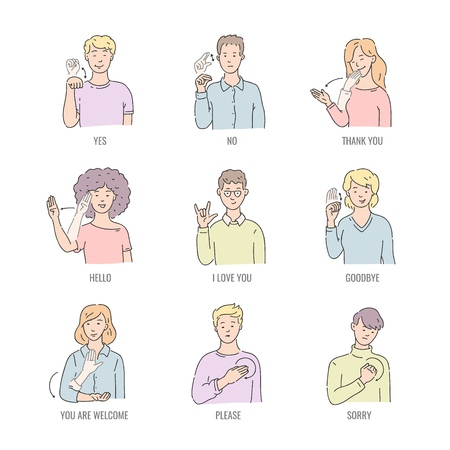 Illustration pour Deaf english basic words in line art isolated on white background - vector illustration set of people using gesture in american sign language. Educational collection of fingerspelling. - image libre de droit