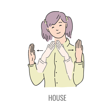 Vector woman showing house deaf-mute sign language symbol  Smiling