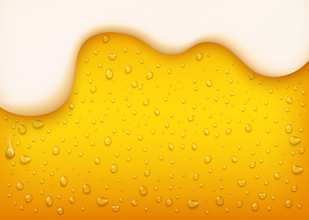 Illustration pour vector lager beer background. Yellow beverage with water bubbles and white thick foam. Alcohol refreshing drink backdrop for brewery packaging design. - image libre de droit
