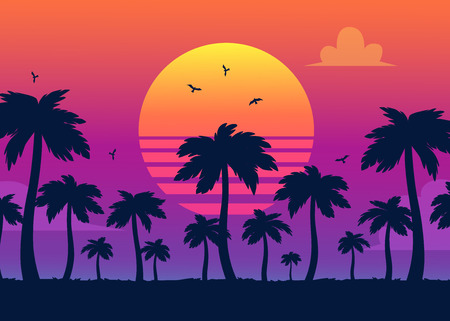 Illustration pour Vector purple sunset on background of palm silhouettes. California beach, summer vacation backdrop for design. Tropical sunset scene for travelling design. - image libre de droit
