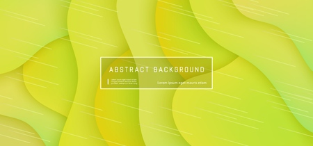 Illustration pour Vector abstract background with expressive yellow wave motion flow. Modern style presentation template, commercial poster layout, dynamic creative advertisement banner wallpaper with space for text - image libre de droit