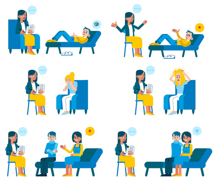 Illustration pour Vector illustration set of psychotherapists appointment in flat style - various people with psychological problems receiving consultation from female doctor isolated on white background. - image libre de droit