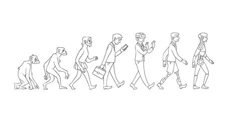 Illustration pour Vector evolution concept with monochrome ape to cyborg and robots growth process with monkey, caveman to businessman in suit, artificial legs person and robotic creature. Mankind development - image libre de droit