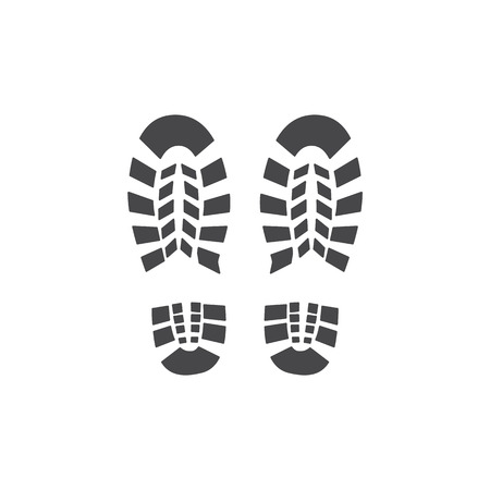 Ilustración de Vector abstract human boot, or sneakers shoe footprint icon. Black silhoette of footwear footmarks. Hiking equipment or army outdoor footwear. Isolated illustration - Imagen libre de derechos