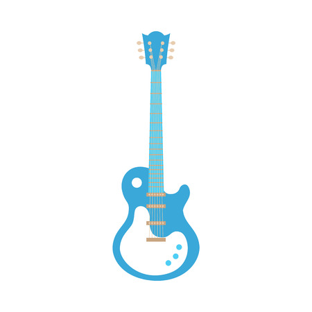 Ilustración de Vector blue electric guitar icon. Classic rock musical instrument. Symbol of heavy metal, blues and string music. Stage entertainment equipment for musicians. Isolated illustration - Imagen libre de derechos