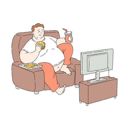 Ilustración de Vector overweight obese unhappy man sitting at sofa watching TV eating fastfood. Fat male character with obesity. Excessive weight man. Health problems connected with unhealthy food and diet - Imagen libre de derechos