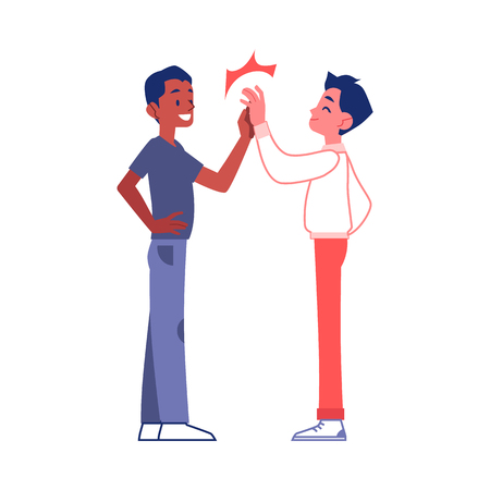 Illustration pour Vector two friends giving high five. Male african and caucasian young characters and sign of achievement, successful collaboration and teambuilding. Two partners after good deal. - image libre de droit