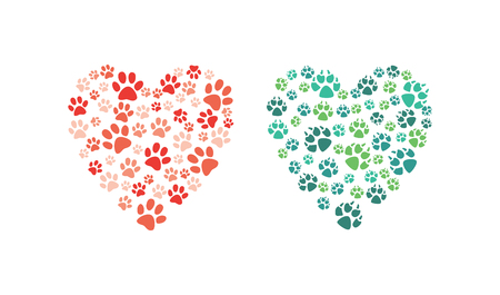 Illustration pour Vector heart made of animal paw footprint. Love animals and save environment concept decoration element. Dogs, cat abstract feet symbols. Isolated illustration - image libre de droit