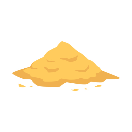 Illustration for Sand heap in flat style isolated on white background - vector illustration of big pile of yellow crumbly powder. Sandy mound for building, beach leisure or kid game concept. - Royalty Free Image