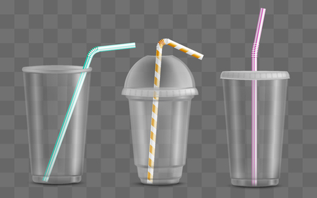 Cup With Straw Set Disposable Beverage