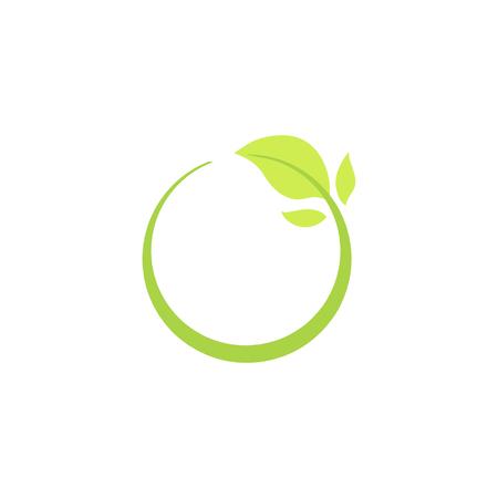 Ilustración de Recycle eco natural icon with green leaf, isolated ecology vector illustration. - Imagen libre de derechos