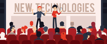 Vector new technologies, gadgets presentation concept with two men manager in front of big audience performing speech. Two speakers, coaches at corporate training or seminar.