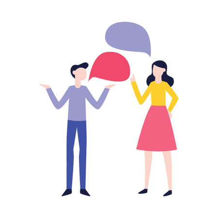Illustration pour Vector flat man and woman negotiating with empty speech bubble. Male, female office workers, colleagues, friends or relatives arguing, communicating. Quarrel and fight between family couple - image libre de droit