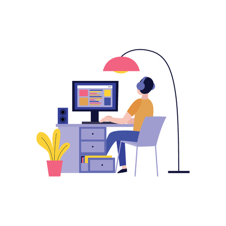 Illustration pour Back view of man in headphones working with computer and creating website in flat style isolated on white background - vector illustration of blogger, writer or freelancer concept design. - image libre de droit