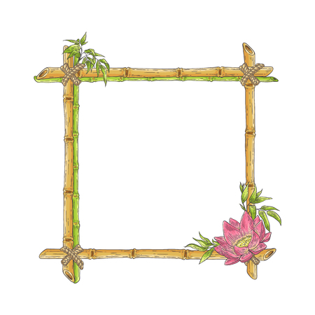 Illustration pour Vector bamboo frame with lotus flower, abstract green plants and leaves. Traditional chinese, eastern culture decoration with copy space. Sketch wooden sicks binded by rope. Asian design background. - image libre de droit