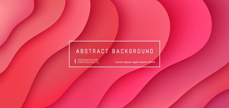 Ilustración de Vector red abstract background with expressive coral wave motion flow. Modern style presentation template, commercial poster layout, dynamic creative advertisement banner with space for text - Imagen libre de derechos