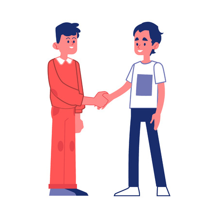 Vector two young men handshaking with smile at face. Business partners in unformal outfit or friends greeting each other. Two male students reached an agreement. Successful collaboration, teamwork