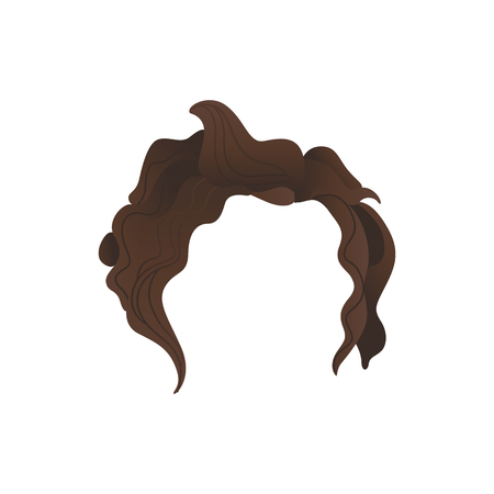 Vector curly hair photo booth prop, party costume