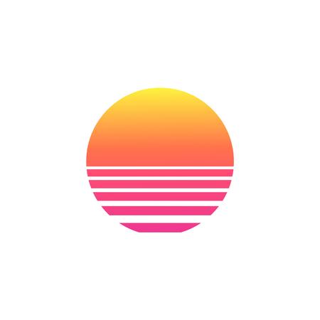 Illustration for Isolated sunset gradient on white background. Vector illustration of sun in retro 80s and 90s style. - Royalty Free Image