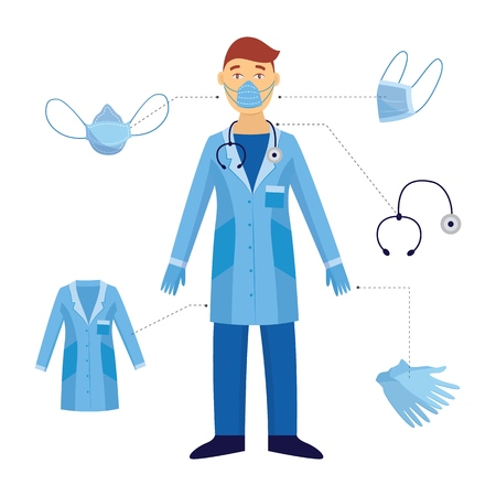 Illustration pour A man and a doctor and his medical safety equipment. Industrial safety and protection with a mask and stethoscope, gloves in a blue doctor form against biological hazards. Vector flat illustration. - image libre de droit