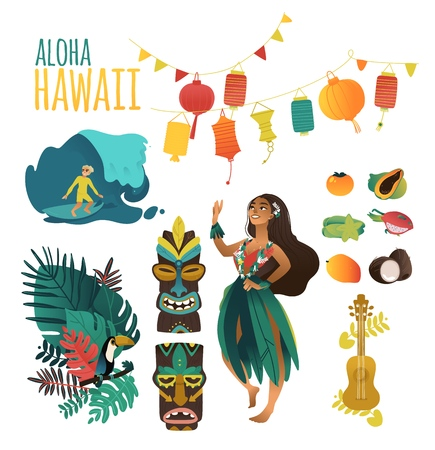 Illustration for Hawaiian culture traditional symbols in flat cartoon vector illustration set - Aloha Hawaii collection of various elements for summer and tropical design isolated on white background. - Royalty Free Image