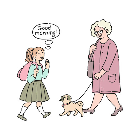 Illustration pour Vector well-behaved girl child saying good morning to elderly woman walking with a dog. Good manners, politeness of female kid. Decenity and urbanity of children concept. - image libre de droit