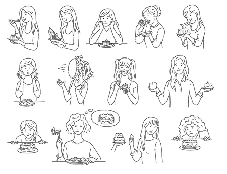 Illustration pour Set of female characters with dessert cake outline sketch style, vector illustration isolated on white background. Women with various emotions eating unhealthy food in different situations - image libre de droit