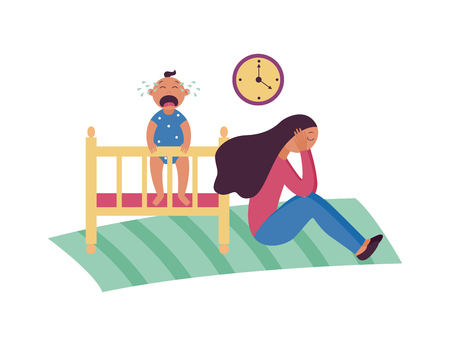 Illustration pour Depressed woman sits on floor while baby is crying in cot flat cartoon style, vector illustration isolated on white background. Sad female with postnatal or postpartum depression - image libre de droit