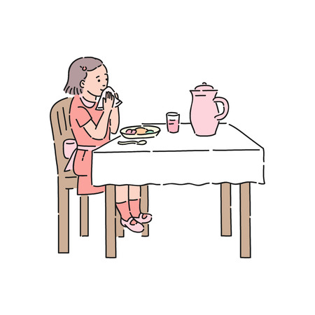 Illustration pour Vector well-behaved girl wipes her lips with napkin after lunch. Good manners, politeness of female kid. Decenity and urbanity of children concept. - image libre de droit