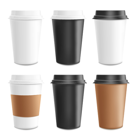 Illustration pour Mockup and template realistic 3d set of paper, cardboard and plastic coffee cup. Disposable plastic and paper coffee cup for hot drinks. Cappuccino, espresso and cafe template, vector illustration. - image libre de droit