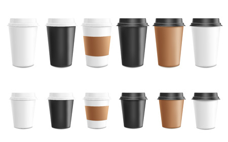 Illustration pour Coffee to go mockup vector illustration set - paper or plastic cups of various colors and height for cafe or shop brand identity design or promotion. Isolated 3d realistic mug for takeaway hot drink. - image libre de droit