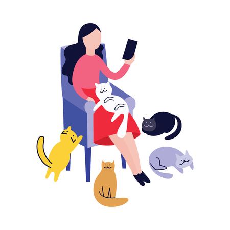 Illustration pour Woman sitting in armchair and reading surrounded by cats flat cartoon style, vector illustration isolated on white background. Pets nearby cat lady relaxing in chair and holding book or gadget - image libre de droit