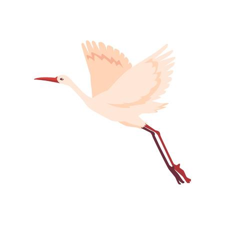Ilustración de Vector hand drawn crane bird icon. Sketch flying white animals taking off. Elegant stork, symbols of china and asia. Isolated illustration - Imagen libre de derechos